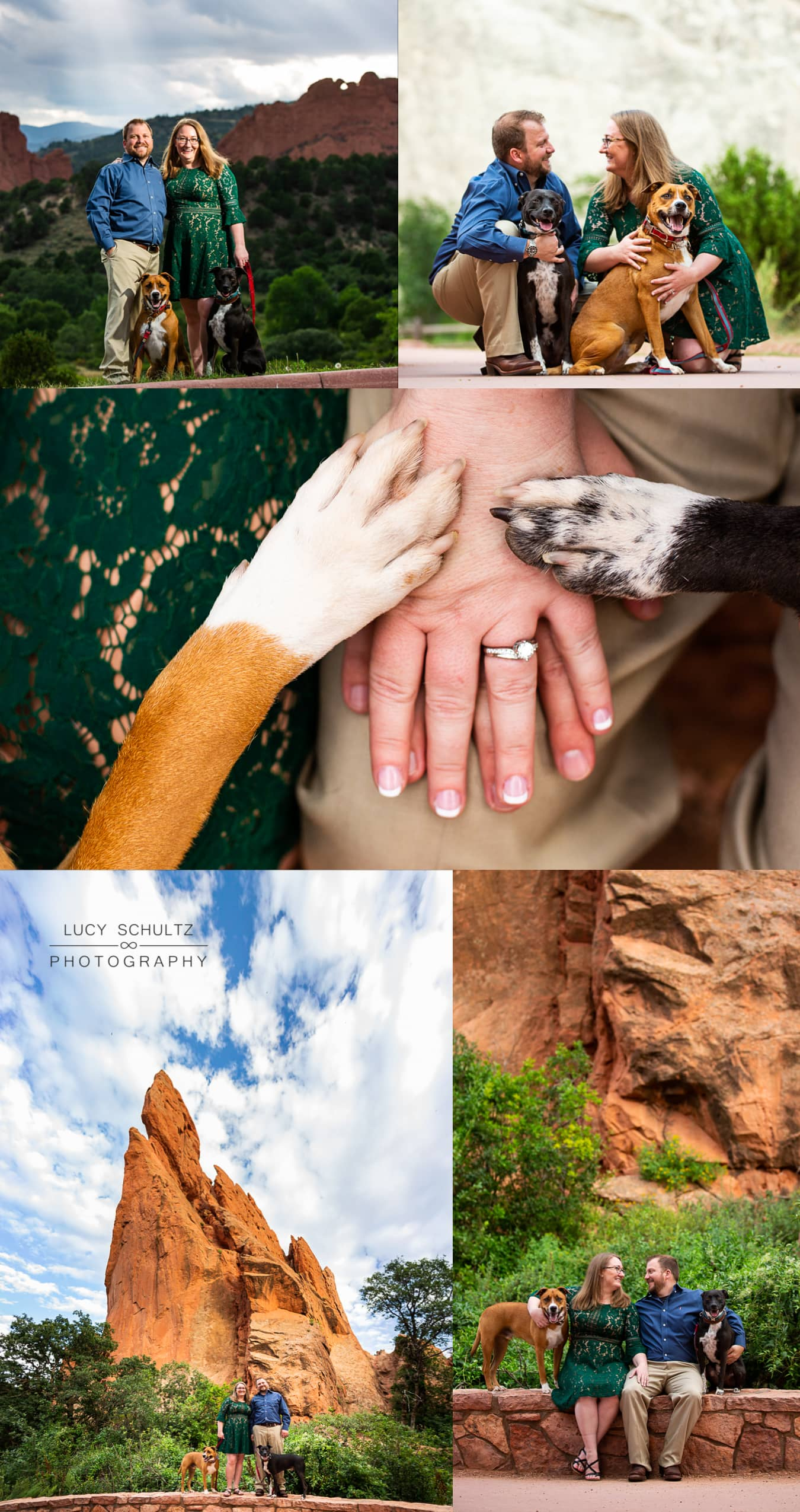 A couple bring their dogs to their engagement session at Garden Of The Gods