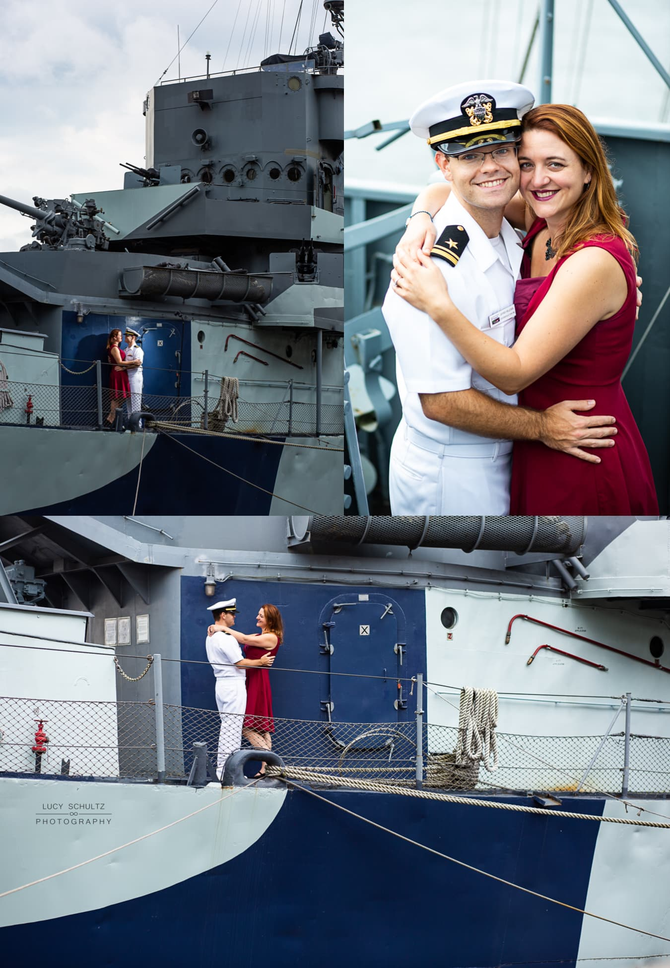 A naval officer and fiance pose for engagement portraits on a destroyer