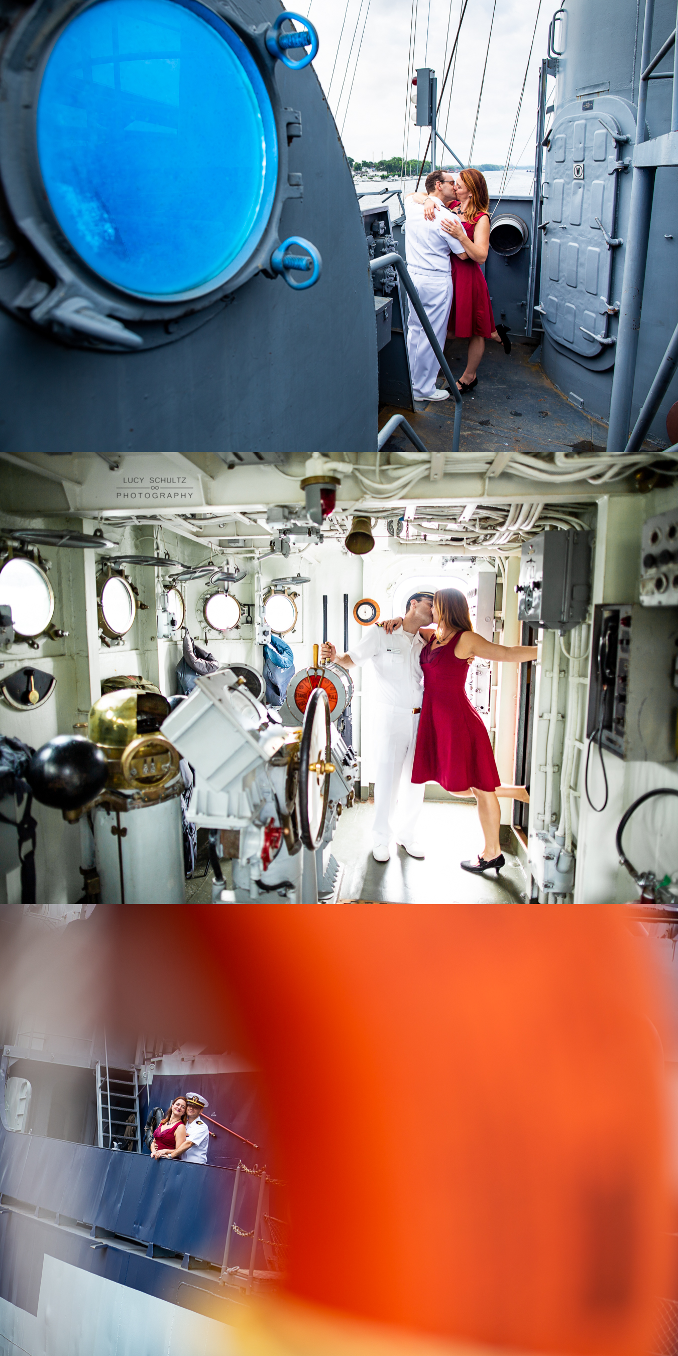 Creative engagement photos on board a boat