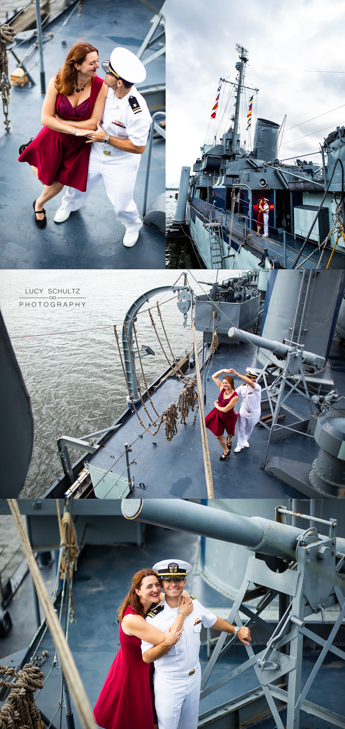 A couple dances on board a battleship for their engagement photos