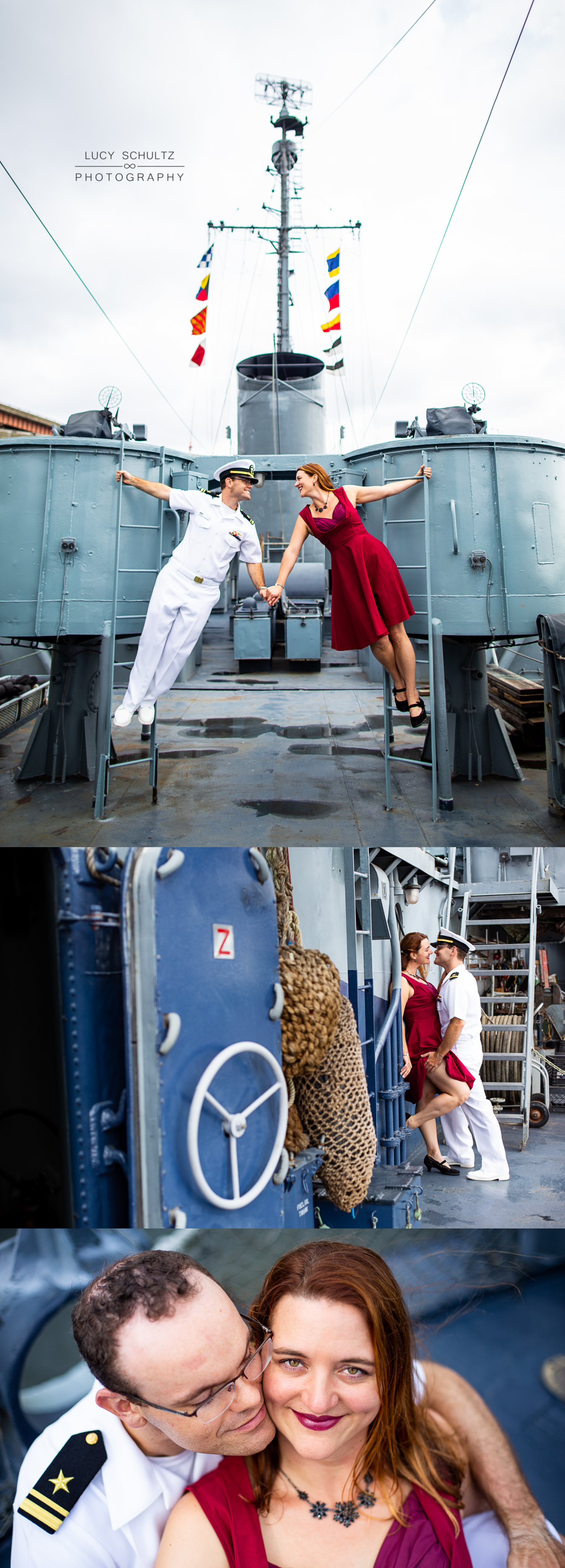 Navy Officer's engagement photos on a battleship