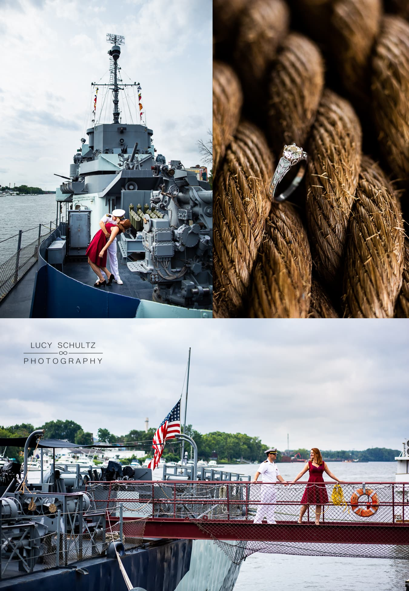 A military couple poses for engagement photos on board a destroyer